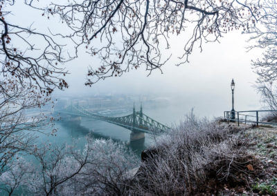 A bridge across a river with winter scenery in the foreground