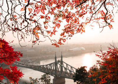 A bridge across a river with autumn coloured trees in the foreground